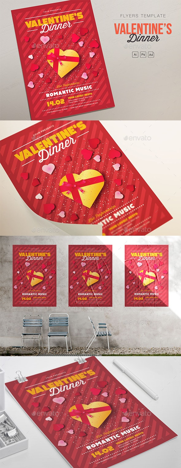 Valentine's Dinner Flyers - Clubs & Parties Events