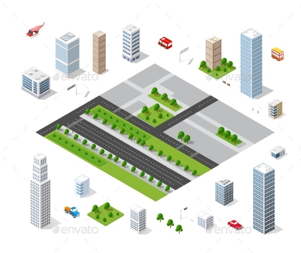 Urban Area of the City - Buildings Objects