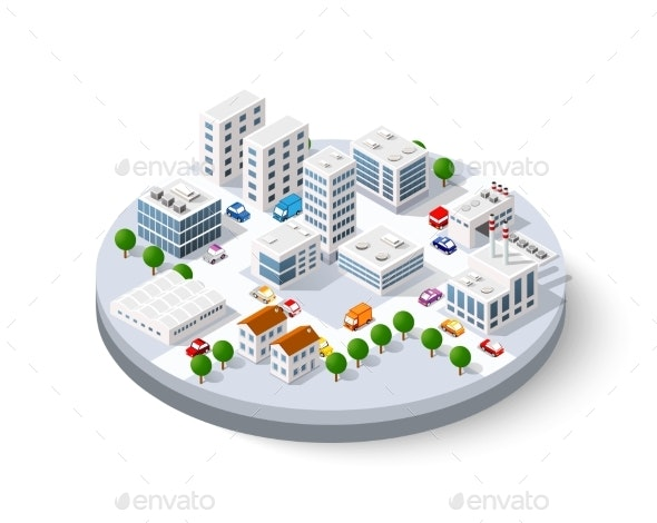 Isometric City with Skyscrapers - Miscellaneous Illustrations