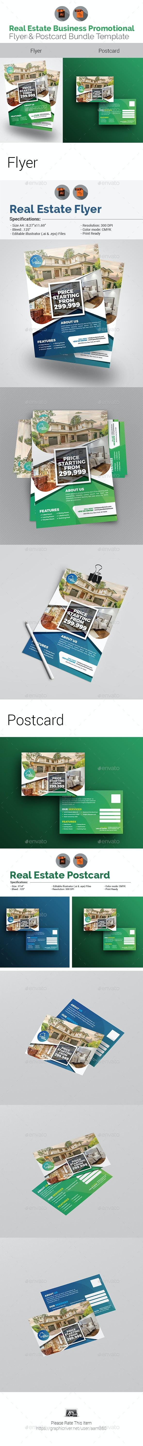 Real Estate Flyer with Postcard Template Bundle - Corporate Flyers