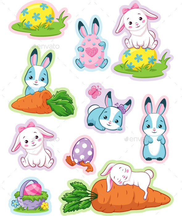 Easter Stickers with Bunny - Miscellaneous Seasons/Holidays