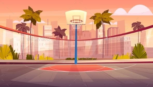 Vector Cartoon Background of Street Basketball - Sports/Activity Conceptual
