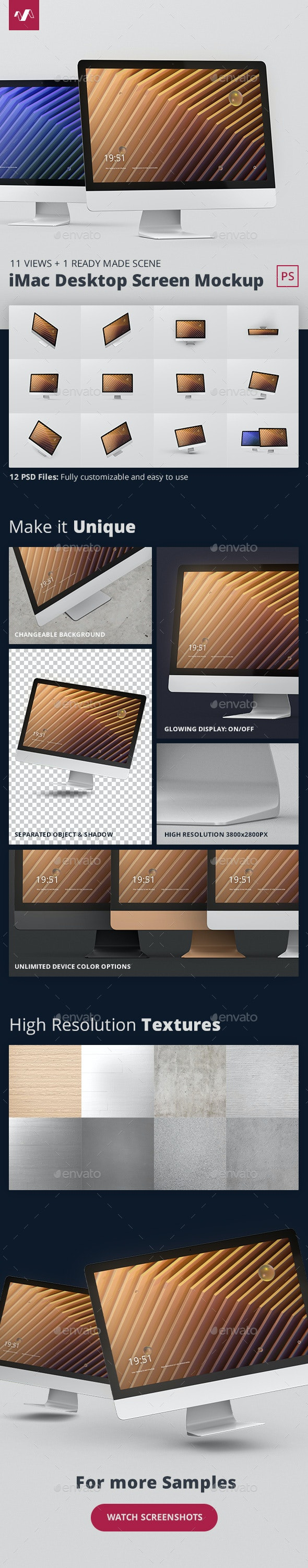 Desktop Screen Mockup - Monitors Displays