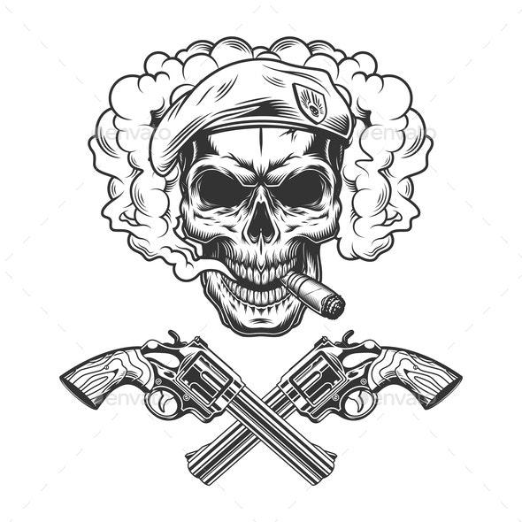 Vintage Soldier Skull Wearing Beret - Miscellaneous Vectors