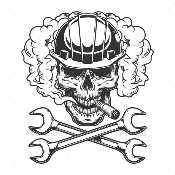 Builder Skull Smoking Cigar - Industries Business