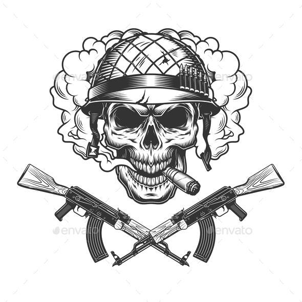 Skull in Soldier Helmet - Miscellaneous Vectors