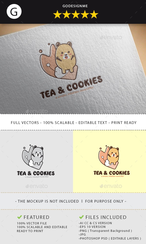 Tea & Cookies Logo Design - Vector Abstract