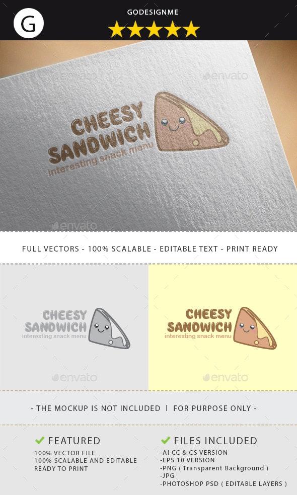 Cheesy Sandwich Logo Design - Vector Abstract