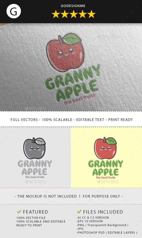 Granny Apple Logo Design - Vector Abstract