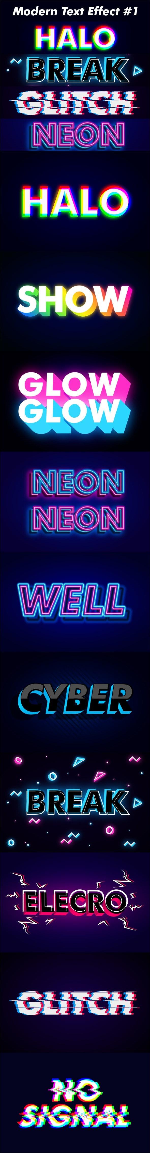 Modern Dark Neon Glitch Text Effect - Text Effects Styles