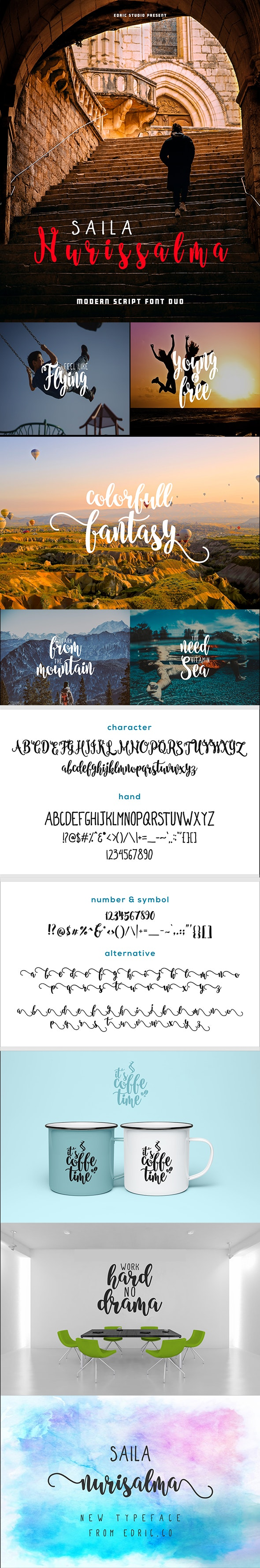 Saila Nurissalma - Two fonts with different styles - Hand-writing Script