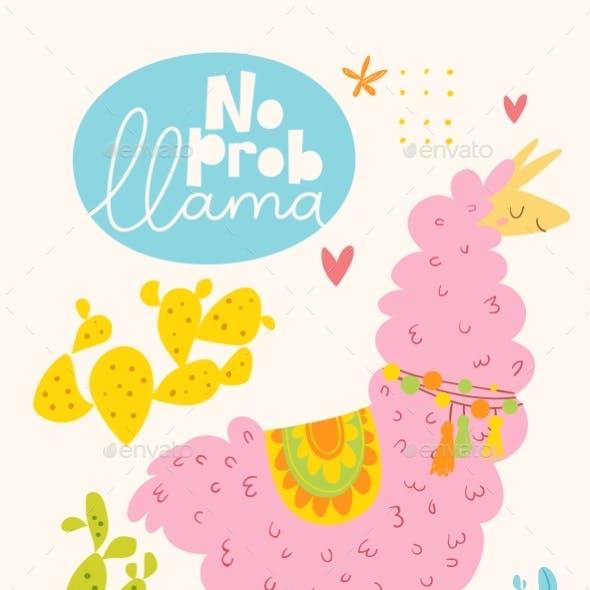 Vector Poster or Card with Cartoon Llama