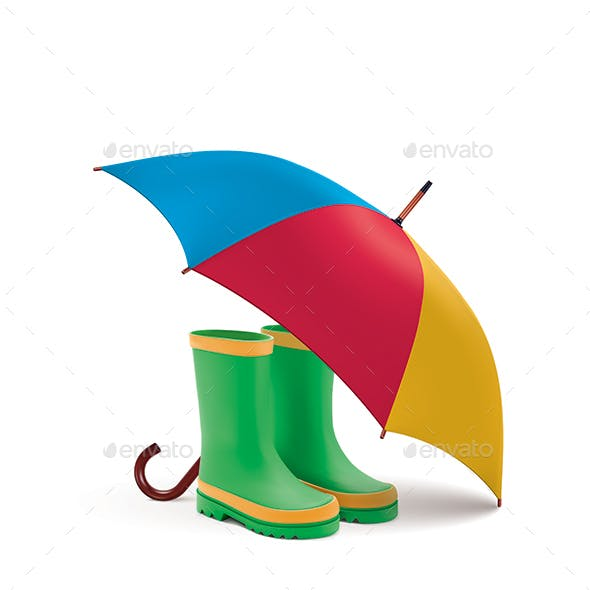 Gumboots and Open Umbrella