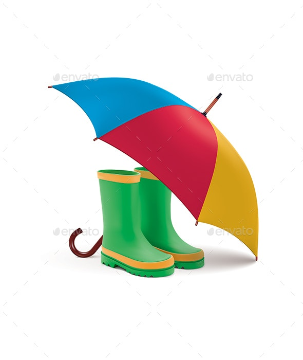 Gumboots and Open Umbrella - Man-made Objects Objects