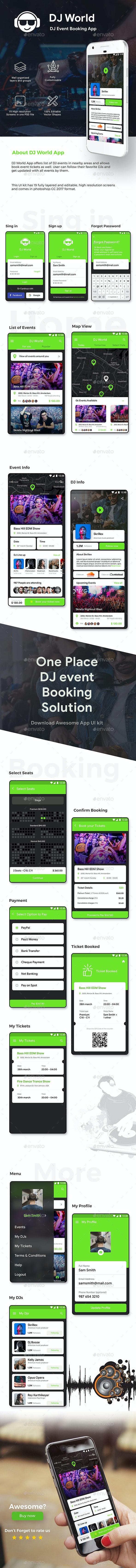 DJ Event Booking App UI Kit | DJ World - User Interfaces Web Elements