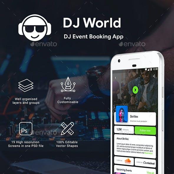 DJ Event Booking App UI Kit | DJ World