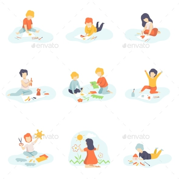Collection of Boys and Girls Sitting on Floor - Miscellaneous Vectors