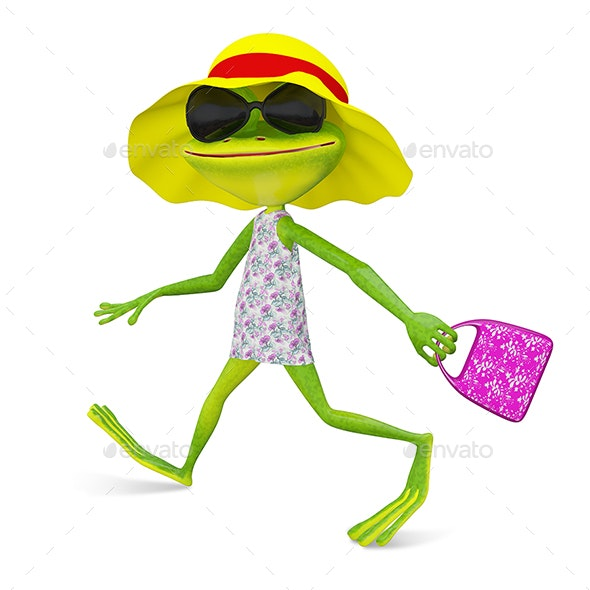 3D Illustration of a Frog in Sundress - Characters 3D Renders