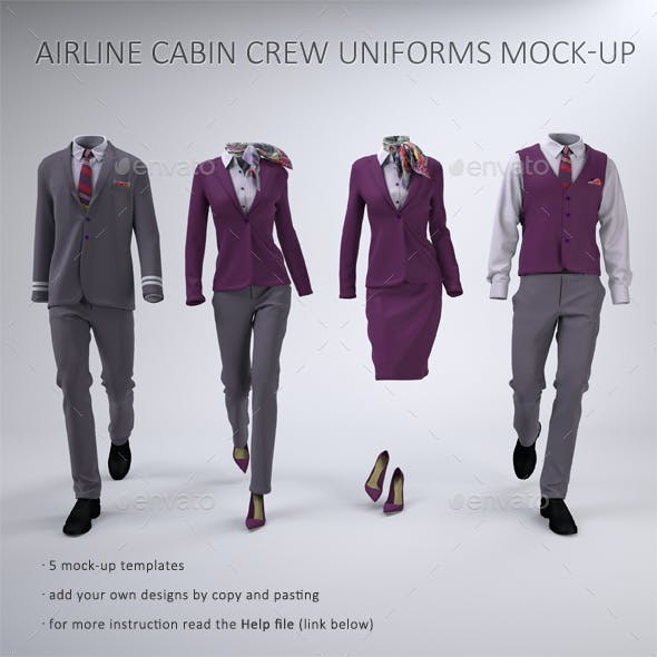 79625064660b2 Airline Cabin Crew or Hotel Staff Uniforms Mock-Up