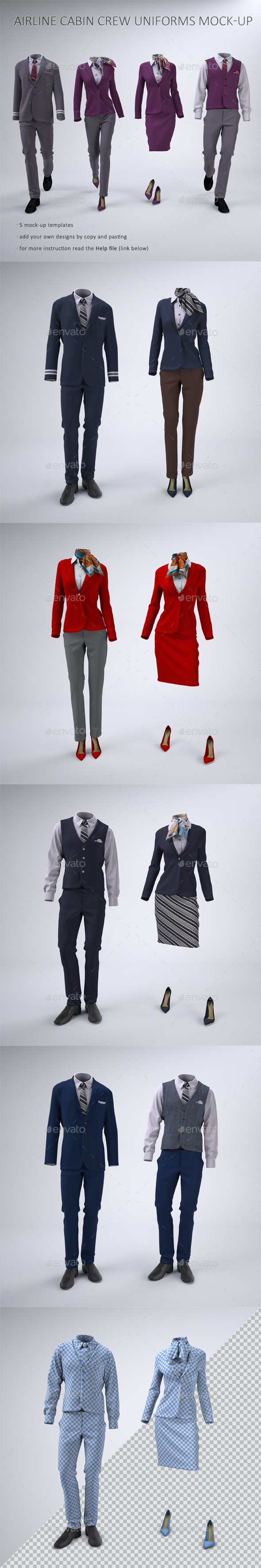 Airline Cabin Crew or Hotel Staff Uniforms Mock-Up - Apparel Product Mock-Ups