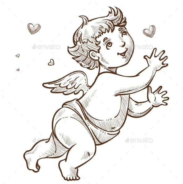 Angel or Cupid with Wings Valentine Day Symbol - Valentines Seasons/Holidays