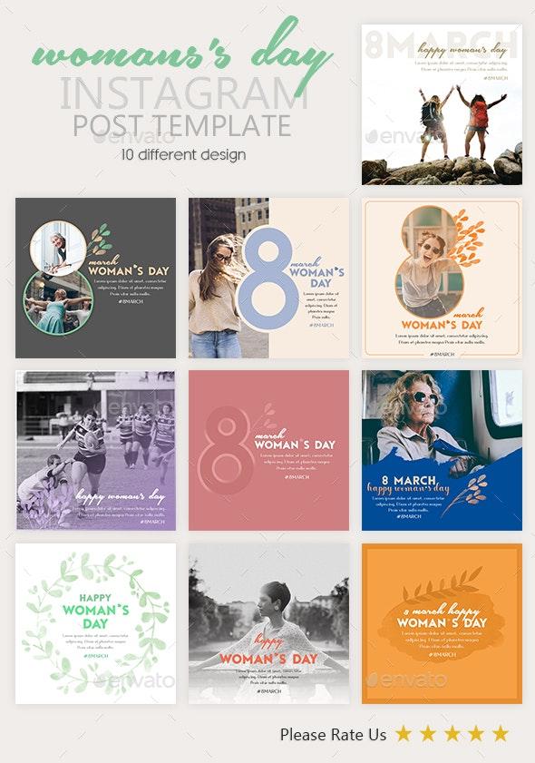 Instagram Post Templates - Women's Day - Social Media Web Elements