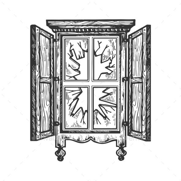 Broken Window Engraving Vector Illustration - Miscellaneous Vectors