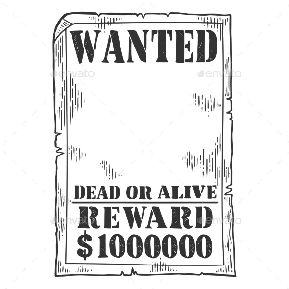 Wanted Poster Template Engraving Vector - Miscellaneous Vectors