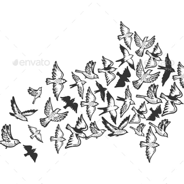 Birds Flying in Form of Arrow Engraving