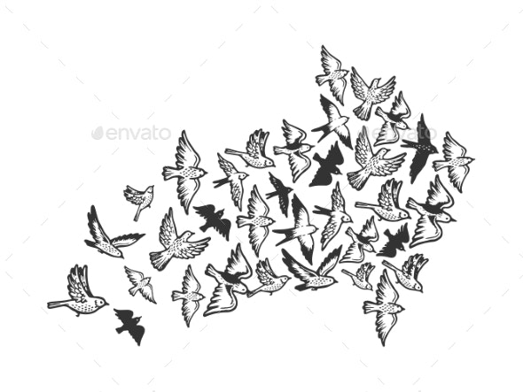 Birds Flying in Form of Arrow Engraving - Animals Characters