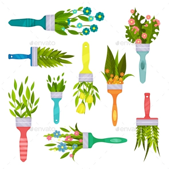 Flat Vector Set of Decorative Elements with Spring - Flowers & Plants Nature