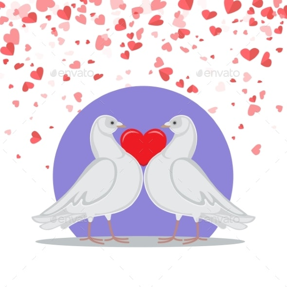 Valentine Greeting Card Doves Love Heart Symbols - Animals Characters