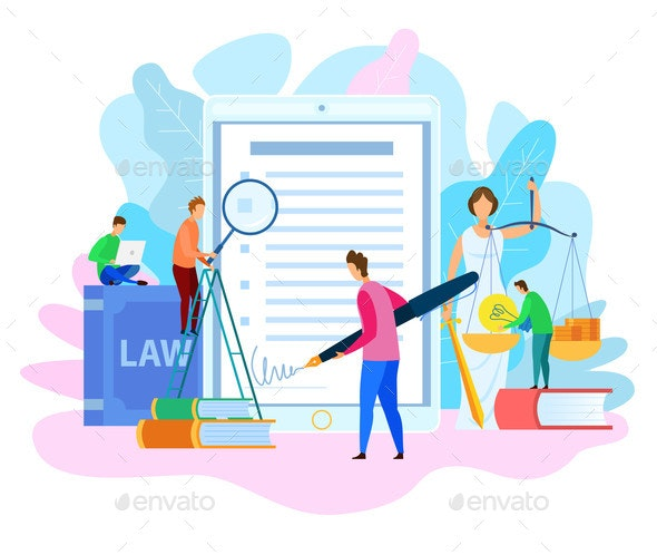 Electronic Signature on Court Decision Vector - People Characters