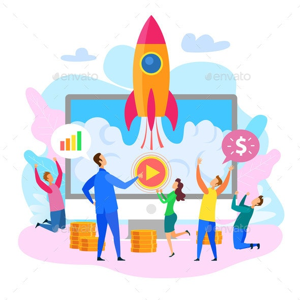 Business Startup Rocket Launch Happy People Jump - Concepts Business