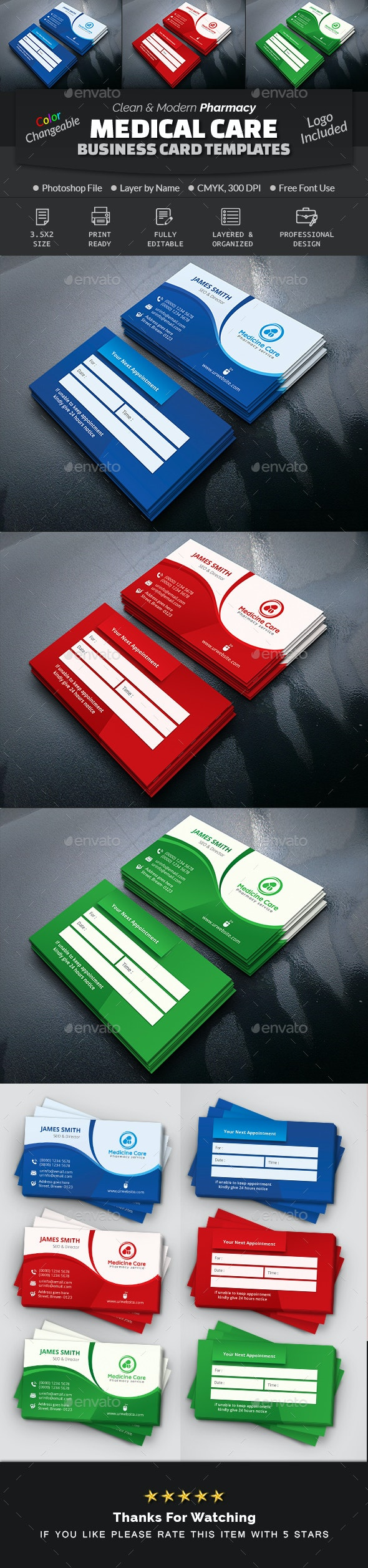 Medical Care Pharmacy Business Card - Industry Specific Business Cards