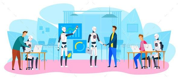 Robot Office Workers People Humanoids Handshake - Miscellaneous Vectors
