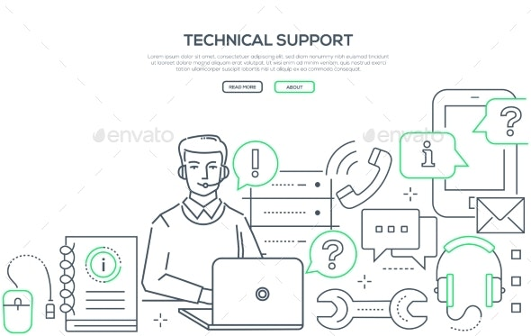 Technical Support - Modern Line Design Style Web - Concepts Business