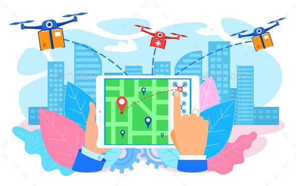 Drones Delivering Parcel to City Hand with Tablet - Miscellaneous Vectors