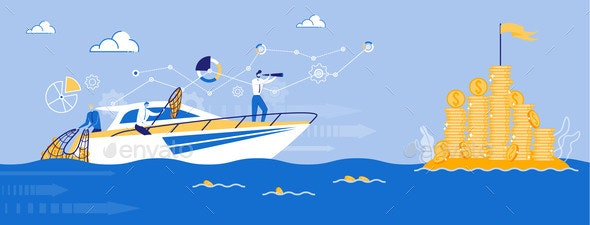 Business Team Company Sailing to Profit by Ship - Miscellaneous Vectors