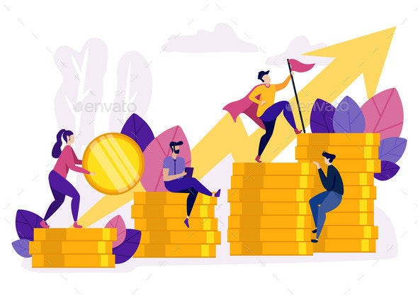 People Ascending By Coins Graph Financial Growth - Concepts Business
