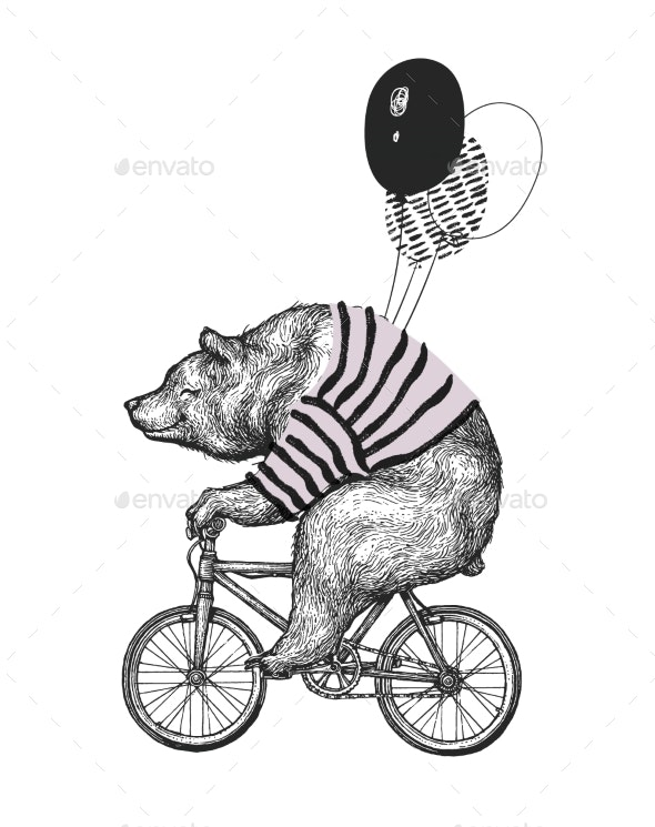 Bear Ride Bicycle T-Shirt Print - Miscellaneous Vectors
