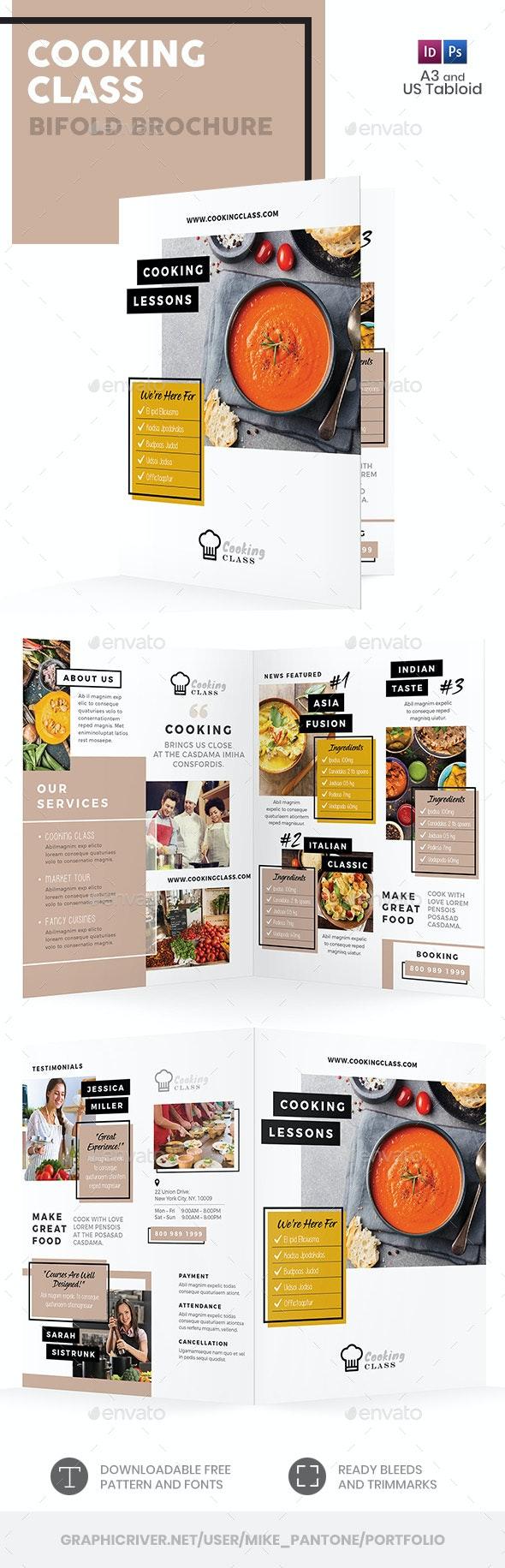 Cooking Class Bifold / Halffold Brochure 3 - Informational Brochures