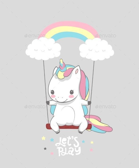 Baby Unicorn Swing Rainbow - Animals Characters