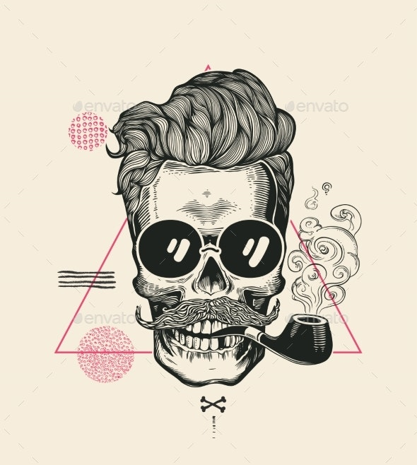 Hipster Skull Smoke Pipe - Miscellaneous Vectors
