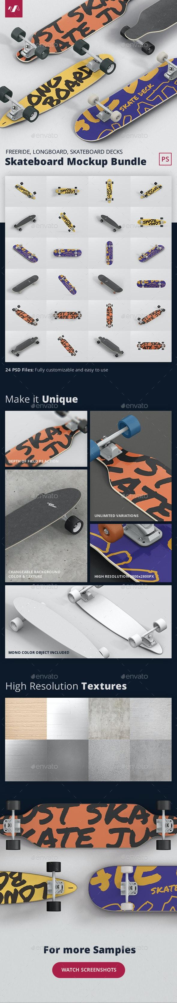 Longboard Skateboard Mockup Bundle - Miscellaneous Product Mock-Ups