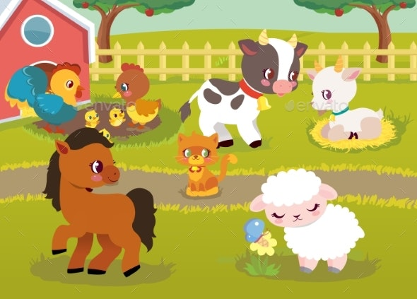 Farm Animal Happy Characters - Animals Characters