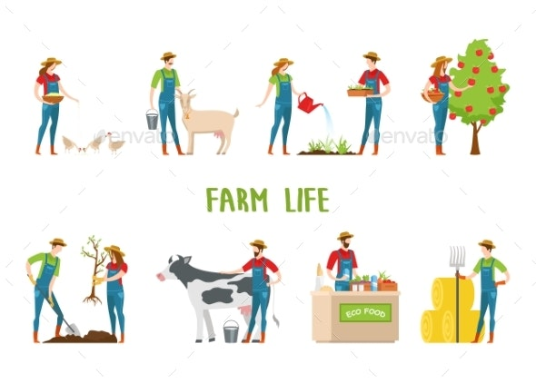 Man and Woman Doing Farm Work Gardening - People Characters