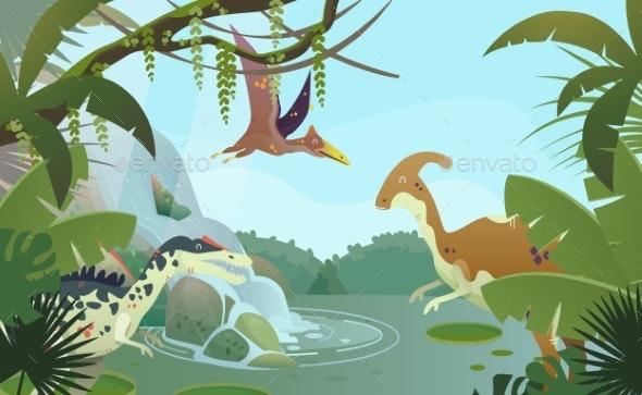 Nature Landscape with Prehistoric Dinosaurs - Flowers & Plants Nature