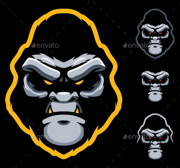 Gorilla Face Mascot - Animals Characters