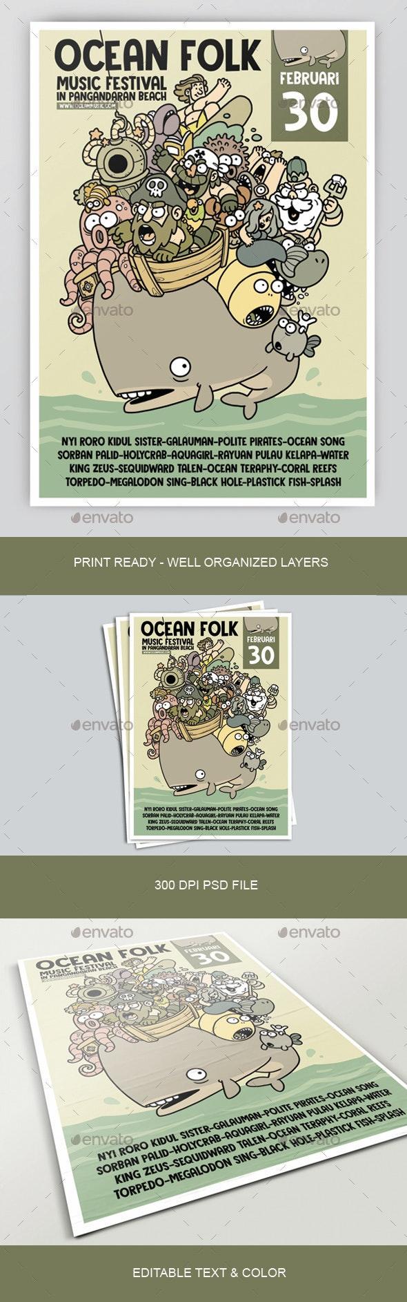 Ocean Folk Poster - Concerts Events